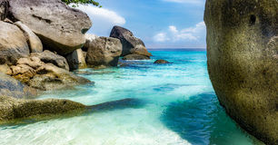 The stones on the beach. The beach on the island in Thailand Royalty Free Stock Photo