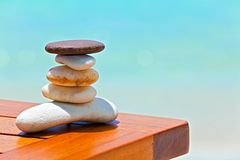 Stones are on  beach table Royalty Free Stock Photos
