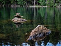 Stones in the Black Lake in Sumava Royalty Free Stock Photography