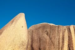 Stones and a blue sky. Two big stones and a blue sky, Seychelles, LaDigue island Stock Photography