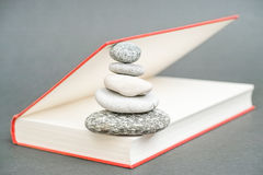 Stones in a book. Red book being kept open by some stones for your concepts about zen, meditation, balance, inspiration, art and creativity - selective focus is royalty free stock images