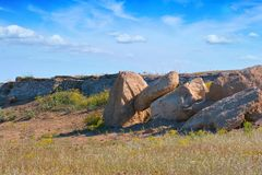 Stones boulders in the steppe Royalty Free Stock Images