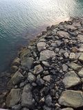 Stones on the breakwater formation Royalty Free Stock Photography