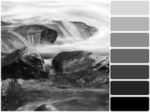 Stones in brook and color palette. Color palette series: shades of gray royalty free stock photography