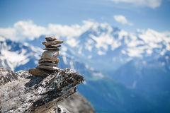 Stones cairn near Eggishorn peak in Swiss Alps Royalty Free Stock Images
