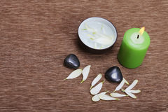 Stones and candle light Royalty Free Stock Images
