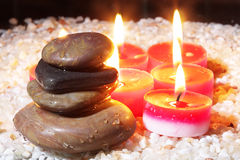 Stones and candles Royalty Free Stock Photos