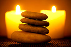Stones and candles Royalty Free Stock Photography