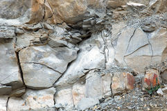 Stones at a chalk stone quarry Royalty Free Stock Photos