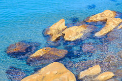 Stones in clear sea water. Royalty Free Stock Images