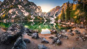 Stones on the coast of Braies lake at sunrise in autumn stock images
