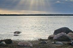 Stones on coast of sea Royalty Free Stock Photography