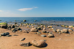 Stones at coastline of Baltic sea in Riga, Latvia Stock Image