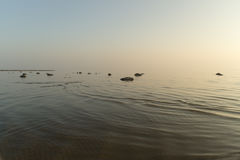 Stones at coastline with vanished horizon Royalty Free Stock Photos