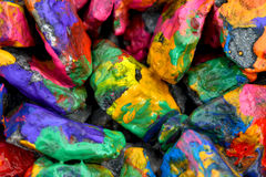 Stones with colorful paint Stock Images
