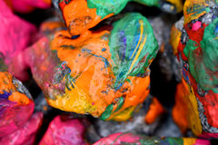 Stones with colorful paint Stock Photography