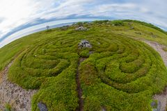 Stones covered with moss in the form of a flower. Stone labyrinths on the Bolshoy Zayatsky Island. Solovetsky archipelago, White Sea, Russia stock images