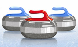 Stones for curling sport game. Ice. Rink. Vector illustration. Stock Photography