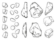 Stones different set of sketch. Hand drawing vector illustration.  vector illustration