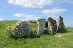 Stones at entrance to West Kennet Long Barrow. Stones at the entrance to the prehistoric (Neolithic) West Kennet long barrow chambered tomb. It is close to Royalty Free Stock Image