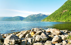 Stones on the fjord coastline. Royalty Free Stock Images