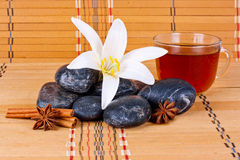Stones with flowers and anise Royalty Free Stock Image