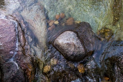 Stones in flowing river Royalty Free Stock Images