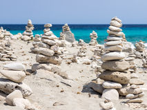Stones in Formentera beach Royalty Free Stock Photo