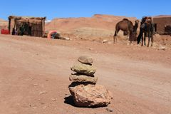 Stones in front of camels royalty free stock photography