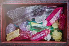 Stones gems in chest stock photos