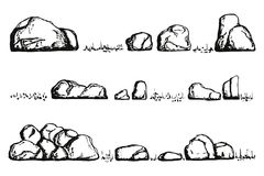 Stones and grass . isolated hand drawing Royalty Free Stock Photos