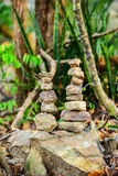 Stones on green background. In forest Royalty Free Stock Photo