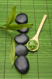 Stones and Green salt in wood spoon on green mat Royalty Free Stock Photo
