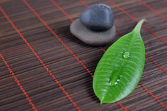 Stones with green sheet on a bamboo napkin. Stones for spa with green sheet on a bamboo napkin removed close up Stock Photography