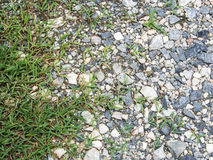 Stones ground. Wet stones ground of parking area with grass . use for background Stock Photography