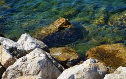 Stones, hard brown rocks and transparent water, background. Stones, hard brown rocks and transparent water. Beautiful gaze of Tyrrhenian sea in Elba island Stock Photography