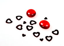 Stones and hearts royalty free stock photography