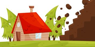 Stones from hillside falling on house. Natural disaster. Dangerous situation. Flat vector design stock illustration