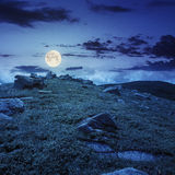 Stones on the hillside at night Royalty Free Stock Images