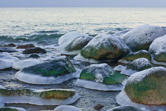 Stones in ice 'skirts' on the seashore. Royalty Free Stock Images
