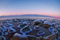 Stones in ice 'skirts' on the seashore. Stock Image