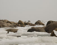 Stones in ice. Royalty Free Stock Photos