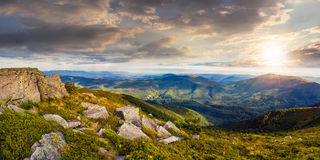 Stones In Valley On Top Of Mountain Range At Sunset Stock Photos