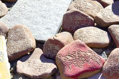 Stones with inscriptions Royalty Free Stock Images