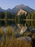 Stones, lake and Hotel in The High Tatras Stock Images