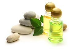 Stones and shampoo bottles Stock Photography