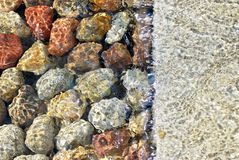 Stones. The stones lying at the bottom of the artificial stream. They give the impression of naturalness. Water flows with the speed and creates a unique game of Royalty Free Stock Photography