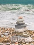 Stones for meditation. On a sea coast royalty free stock photos