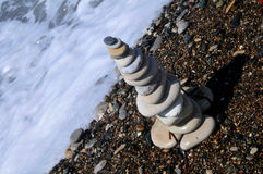 Stones in meerschaum -diagonal. Stones alone in a beautiful beach in the coast of Cyprus Stock Photo