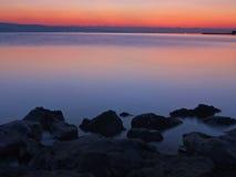 Stones at misty sea stock photo